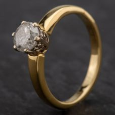 Second Hand 18ct Yellow Gold Certificated Diamond Single Stone 6 Claw Setting Ring