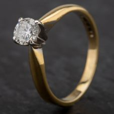 Second Hand 18ct Yellow Gold Diamond 4 Claw Single Stone Ring