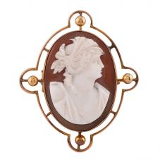 Second Hand Yellow Gold Oval Cameo Brooch