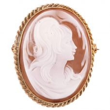 Second Hand Yellow Gold Twist Oval Cameo Brooch