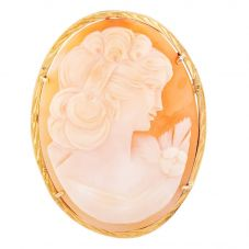 Second Hand Yellow Gold Engraved Oval Cameo Brooch Q600555(457)