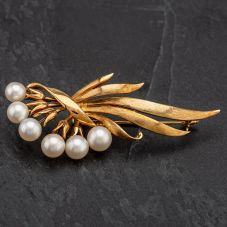 Second Hand 14ct Gold Cultured Earl Flower Spray Style Brooch