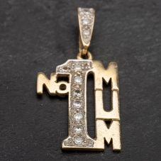 Pre-Owned 9ct Yellow Gold Cubic Zirconia Set Number 1 MUM Pendant 4114041