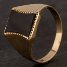 Second Hand 9ct Yellow Gold Onyx Signet Ring