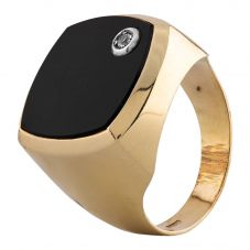 Second Hand Yellow Gold Onyx Signet Ring H.437691(396)