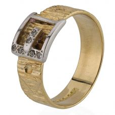 Second Hand 18ct Two Colour Gold Mens Diamond Set Buckle Ring 4115362