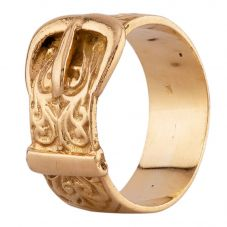 Second Hand Yellow Gold Engraved Buckle Ring