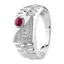 Second Hand 9ct White Gold Ruby and Diamond Ring