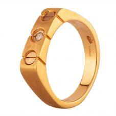 Second Hand 9ct Yellow Gold Diamond and Screw Set Signet Ring