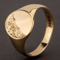Second Hand 9ct Yellow Gold Half Engraved Oval Signet Ring