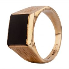 Second Hand 9ct Yellow Gold Onyx Oblong Signet Ring N516954(454)