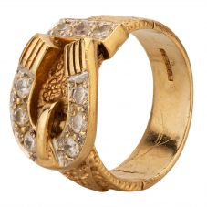 Second Hand 9ct Yellow Gold Cubic Zirconia Buckle Ring HGM33/03/49(06/19)