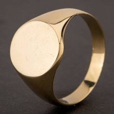 Second Hand 9ct Yellow Gold Plain Oval Signet Ring