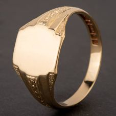Second Hand 9ct Yellow Gold Plain Barrel Shape Signet Ring