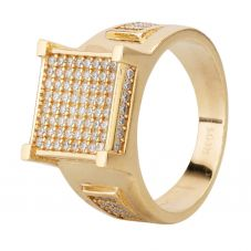 Second Hand 9ct Yellow Gold Pave Cubic Zirconia Square Signet Ring