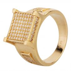 Second Hand 9ct Yellow Gold Square Pave Cubic Zirconia Signet Ring