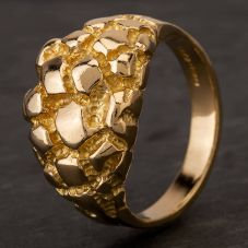 Second Hand 9ct Yellow Gold Textured Dome Ring HGM39/03/10(08/19)
