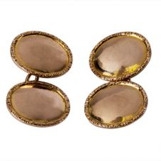 Second Hand 9ct Yellow Gold Plain Oval Chain Cufflinks 4119473