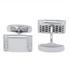 Second Hand Mens Diamond Set Oblong Cufflinks