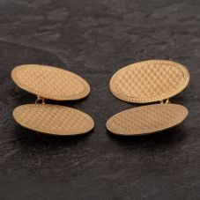 Second Hand 9ct Yellow Gold Oval Engine Turned Double Cufflinks