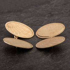 Second Hand 9ct Yellow Gold Sunray Engraved Double Cufflinks
