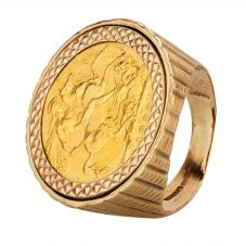 Second Hand 9ct Yellow Gold 1900 Queen Victoria Full Sovereign Coin Ring D600651(458)