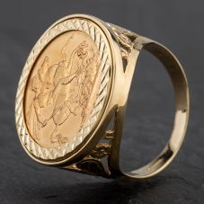 Second Hand 1885 Full Sovereign Coin Ring