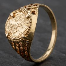 Second Hand 9ct Yellow Gold Childs Peso Coin Ring