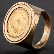 Second Hand Mixed Metal Sovereign Ring 4120288