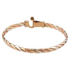 Second Hand 9ct Three Colour Gold Plaited Bangle