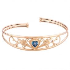 Second Hand 9ct Yellow Gold Blue Topaz Heart Patterned Bangle