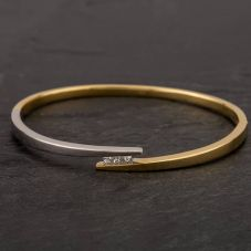 Second Hand 18ct Two Colour Gold Princess Cut Diamond Bangle