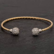 Second Hand 9ct Two Colour Gold Cubic Zirconia Twist Torque Bangle
