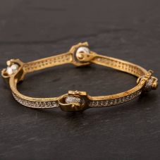 Second Hand 9ct Two Colour Gold Cubic Zirconia Loose Hinged Bangle HGM39/01/02(08/19)