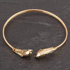 Second Hand 9ct Yellow Gold Diamond Set Double Dolphin Torque Bangle
