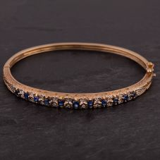 Second Hand 9ct Yellow Gold Sapphire and Diamond Patterned Hinged Bangle
