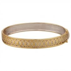 Second Hand 9ct Two Colour Gold Patterned Hinged Bangle