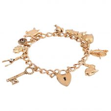 """Second Hand 9ct Yellow Gold 7"""" Traditional Charm Bracelet F606082(454)"""