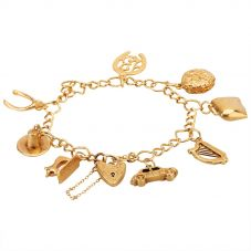 """Second Hand 9ct Yellow Gold 7"""" Charm Bracelet F502235(458)"""