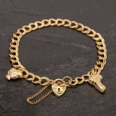 Second Hand 9ct Yellow Gold Double Curb Charm Bracelet