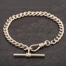 Second Hand Sterling Silver Curb Chain T-Bar Bracelet