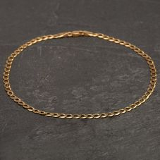 Second Hand 9ct Yellow Gold Flat Curb Anklet