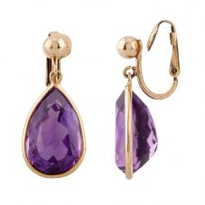 Second Hand Rolled Gold Pear Cut Amethyst Clip-On Dropper Earrings