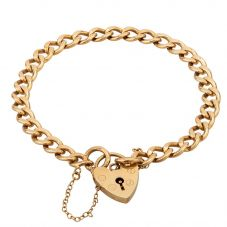 Second Hand 9ct Yellow Gold Curb Chain Padlock Bracelet
