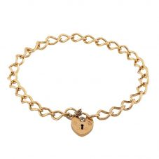 Second Hand 9ct Yellow Gold Small Heart Padlock Curb Bracelet