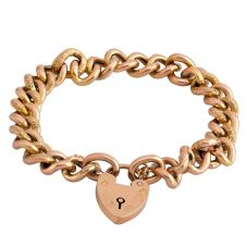 Second Hand Rose Gold Curb Chain Padlock Bracelet