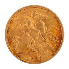 Second Hand 22ct Yellow Gold 1907 King Edward Half Sovereign Coin 4130133