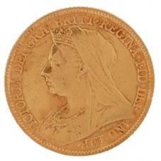 Second Hand 22ct Yellow Gold 1896 Queen Victoria Half Sovereign Coin