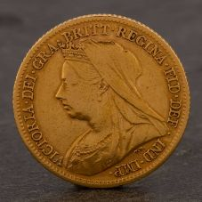 Second Hand 22ct Yellow Gold 1899 Queen Victoria Half Sovereign Coin ELM106947(08/11) 4130164