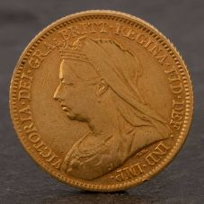 Second Hand 22ct Yellow Gold 1901 Queen Victoria Half Sovereign Coin ELM106947(08/11) 4130166